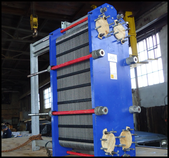 Blue and Red Heat Exchanger